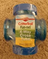 New Kaytee Critter trail 4-Way Cross Tube Fun-Nel Blue Hamster Mice Nip