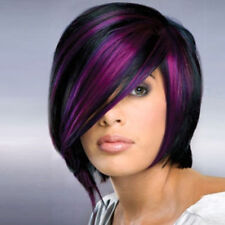 Synthetic Short Straight Wigs for Women Mix Black Purple Wig Heat Resistant Wig