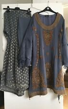Women's Khazana London Beautiful Grey 3 Piece Gharara Shalwar Kameez Size XL