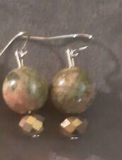 Handmade Natural Unakite Gemstone & Glass Crystal Earrings