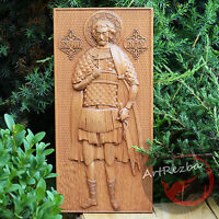 "12"" x 5,6"" Saint Victor of Damascus - icon 3D Art Orthodox Wood Carved religious"