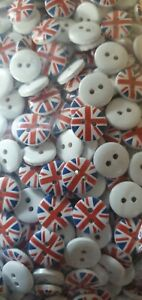 10x British Union Jack United Kingdom Flag Sewing Buttons 15mm - Clothing Craft