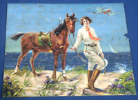 "Vintage 1930's Childrens Picture Puzzle Woman with Horse Airplane 8-3/4""x10-3/4"""