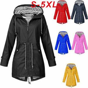 UK Women Waterproof Coat Ladies Outdoor Wind Rain Forest Jacket Coat Size S-5XL