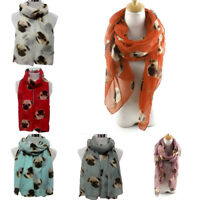 Fashion Women Voile Pug Dog Printed Scarf Soft Long Large Wrap Shawl Scarves