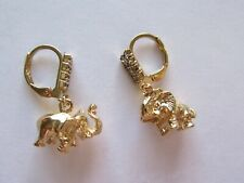 Fashion Earrings 18K gold plated - elephant shape- trunks up - clear crystals