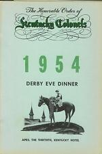 The Honorable Order of Kentucky Colonels 1954 Derby Eve Dinner program