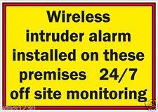 Be Aware Wireless Intruder Alarm 24/7 monitoring warning security cctv shop sign