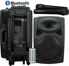 "PORTABLE PA SPEAKER SYSTEM 12"" BLUETOOTH MP3 USB & 2 WIRELESS MICROPHONE 300W"