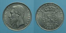BELGIO 50 CENTIMES 1886/66 LEOPOLDO II FDC