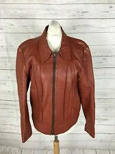 Womens Vintage Leather Bomber Jacket - UK12 - Brown - Great Condition