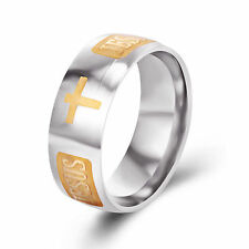 Titanium Steel Gold Christian Jesus Cross Catholic Crucifix Ring Size: 10.5 #01