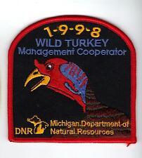 1998 MICHIGAN DNR SUCCESSFUL TURKEY-DEER HUNTER PATCH -HUNTING LICENSES- PINBACK