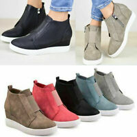 Womens Hidden Wedge Mid Heel Ankle Boots Ladies Sneakers Trainers High Top Shoes