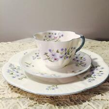 "GORGEOUS VINTAGE ""SHELLEY"" DAINTY TRIO CUP SAUCER & CAKE PLATE ~BLUE ROCK~"