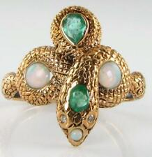 DIVINE 9K 9CT GOLD COLOMBIAN EMERALD OPAL DIAMOND SNAKE ART DECO INS RING