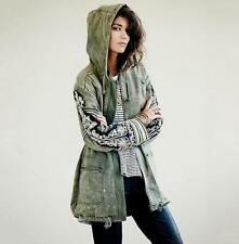 Womens Embroidered Golden Quills Hoodie Jacket Parka Military Cape Coats XS-L