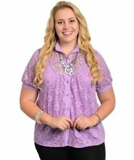 Polyester Button-Down Tops for Women