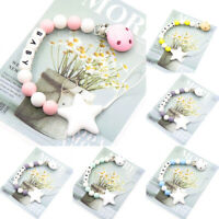 Star Silicone Beads Baby Teething Personalized Baby Name Pacifier Chain Clips