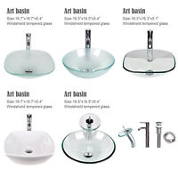 Bathroom Tempered Glass Vessel Sink Bowl Ceramic Basin Faucet Pop-up Drain Set