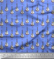 Soimoi Azul popelina de algodon Tela notas y la guitarra instrumento-CFv