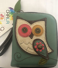 New Chala Teal Owl Zippered Wallet Faux Leather Zippered Change Wristlet