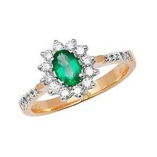 Echte Edelstein-Ringe aus Gelbgold mit Smaragd für Verlobung
