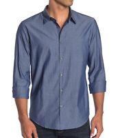 John Varvatos Star USA Men's Long Sleeve Chambray Solid Sport Shirt Indigo L