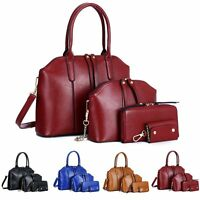 4pcs/set Women Tote Purse Leather Ladies Messenger Hobo Handbag Shoulder Bags