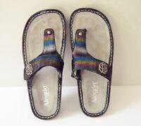 ALEGRIA CAR 224 Womens 38/ 8-8.5 Rainbow Leather Thong Slide Sandal