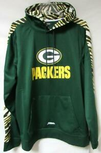 Green Bay Packers Men's Large Pullover Zebra Accent Hoodie Sweatshirt A1 3119