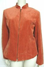 NWT Dressbarn Orange Corduroy Jacket Women L Zip Up Coat 12 14 Zippered $45