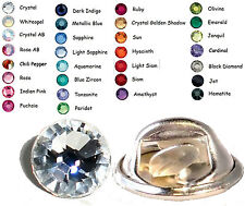 30 Colours Crystal 7mm Tie Cravat Tack Lapel Pins made with SWAROVSKI ELEMENTS