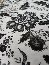 1m x Black and white floral patchwork dress fabric 100% cotton cos