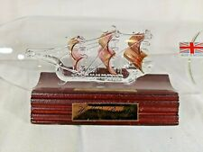 Crystal Glass Ship in a Bottle - HMS Bounty - Copper Sails - Nautical Britain