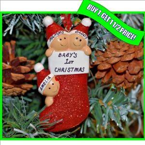 Personalised Baby 1st Christmas / Xmas Bauble Decoration Gift Keepsake- 3 Family