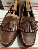 Cole Haan Men's 12 D Brown Woven Leather Tassel Slip On Dress Loafers