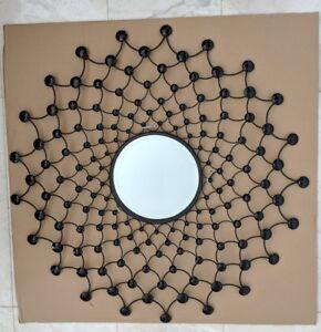 Black metal mirror W crystal beads hanging wall art home Decor RRP $220 *SALE*