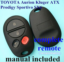 fits TOYOTA Aurion Kluger ATX Prodigy SX6 Sportivo Complete Remote Control Fob