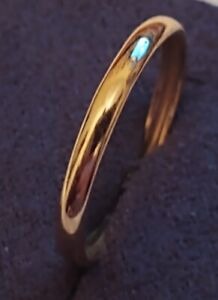 14K Solid Yellow Gold Plain Wedding Band Ring - size 8 3/4 ((157))