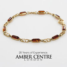 ITALIAN MADE BALTIC AMBER BRACELET IN 9CT GOLD -GBR059 RRP£380!!!