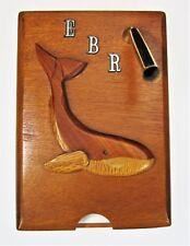"""Whale Wooden Pen Paper Holder Notepad Vtg Desk Decor Initialized """"Ebr�"""