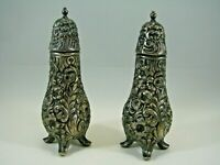 Vintage WB MFG CO C-103 Patina Silver Plate Salt & Pepper Shakers