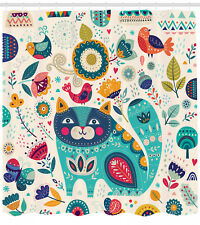 Animal Shower Curtain Cat Figure with Birds Print for Bathroom 70 Inches Long
