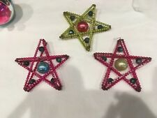 3 Antique Star Blown Glass Beadwork Christmas Ornaments