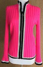 Belldini Ladies Rhinestone Zipper Ribbed Cardigan Sweater Pink Silver Black Med