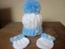 HAND KNITTED BABY HAT & MITTS SET - SIZE NEW BORN