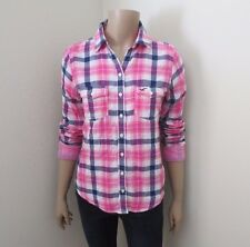 NWT Hollister Womens Plaid Flannel Shirt Size Small Top Blouse Pink