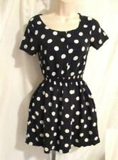 Reg Size 6 H&M Divided Skater Dress Black White Polka Dots Above Knee Rayon