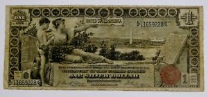 1896 - Large Size $1 Educational Silver Certificate Note - Well Circulated